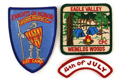 Three Boy Scout Patches Eagle Valley Webelos Woods, Knights of Honor, 4th July