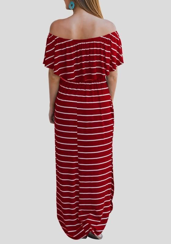 c48a4ecaca3b Red-White Striped Ruffle Off Shoulder Pockets Backless Elegant Homecoming  Party Maxi Dress