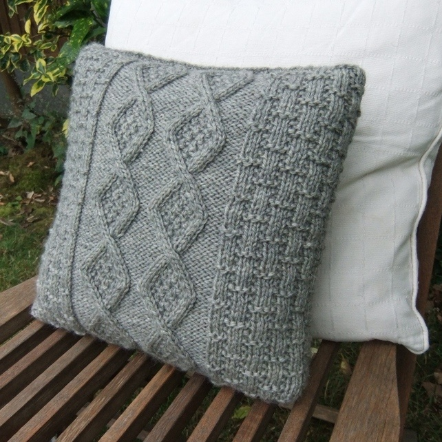 Vintage Grey Hand Knitted Cushion