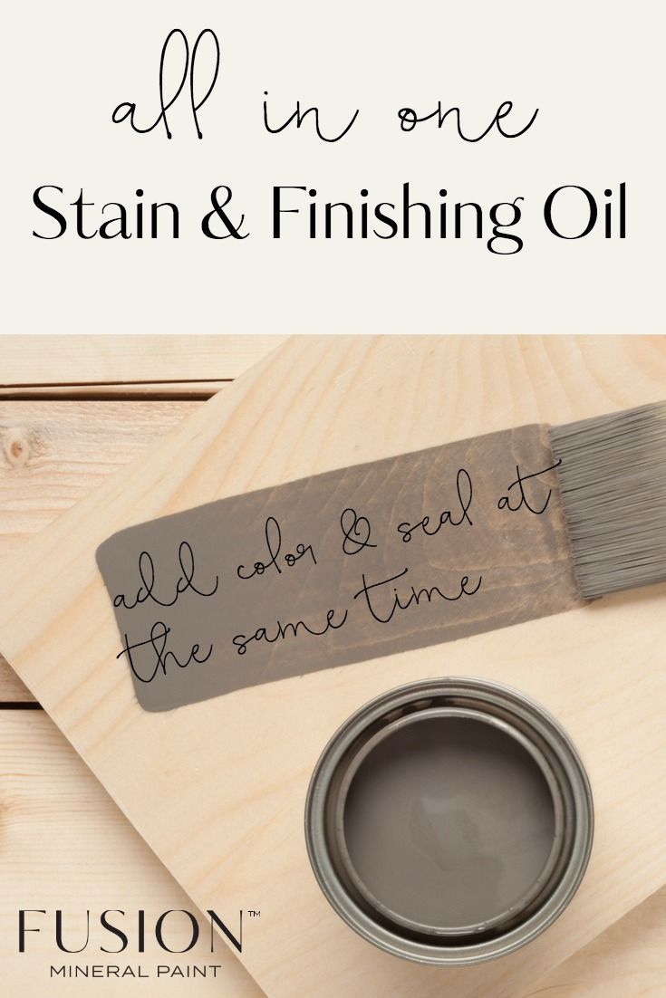 Our Stain & Finishing Oil All in One does just as it says! It add colour, and adds a sealing oil at the same time!     This oil penetrates into the wood leaving no surface layer or film, rather it soaks into the wood. This is great if you have heavy use areas likes floors or table tops as it won't gauge out like a urethane or varnish. #furniture #diyhomedecor #fusionmineralpaint