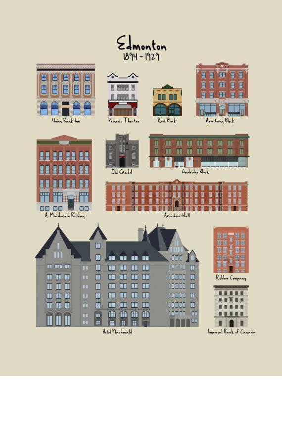 Edmonton Heritage Buildings 1894-1929 by JeffreyDekker on Etsy