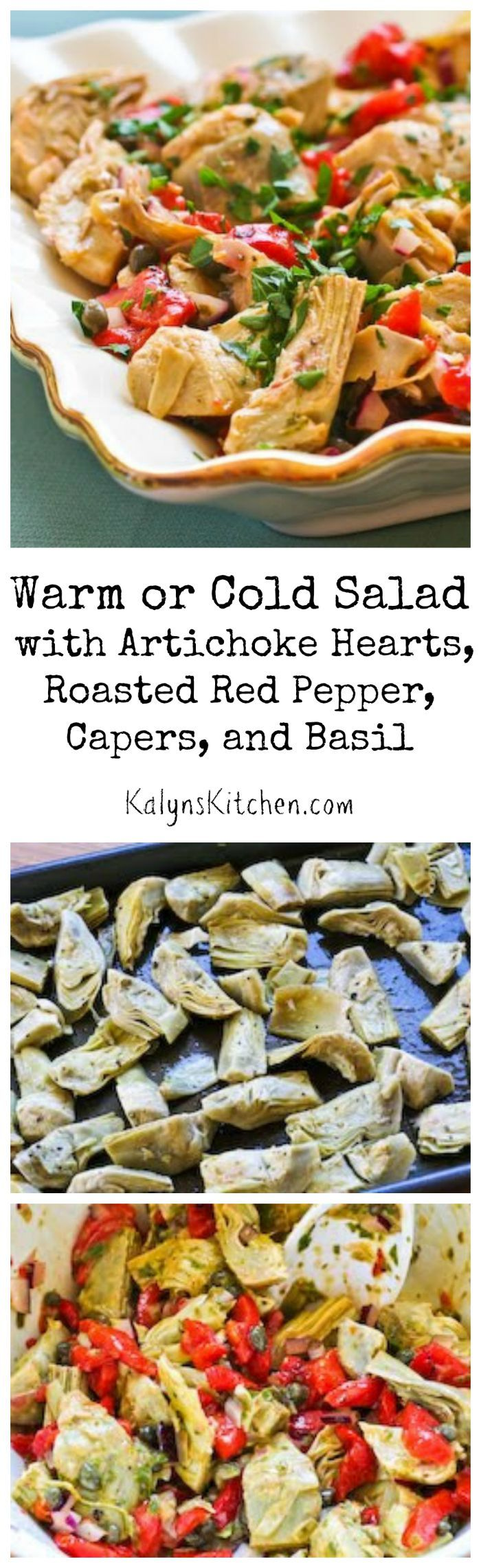 Roasting the artichoke hearts adds an extra layer of flavor to this Warm or Cold Salad with Artichoke Hearts, Roasted Red Pepper, Capers, and Basil Dressing. Perfect for summer into fall parties! [from KalynsKitchen.com]