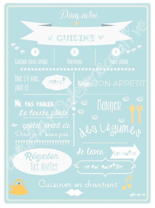 Affiche règles de la cuisine, bleu scandinave, règles humoristiques , décoration cuisine , enfant, famille de la boutique alexonecreative sur Etsy