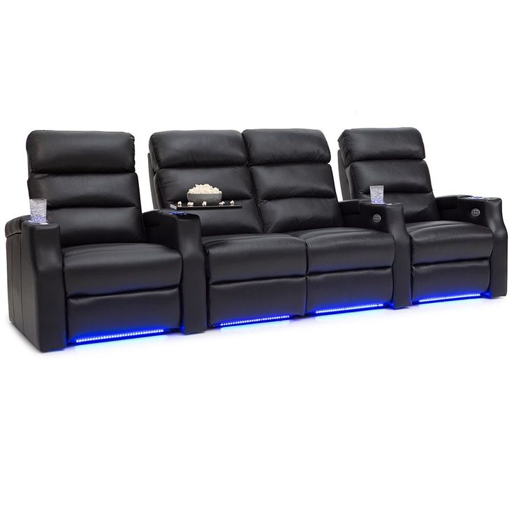 Barcalounger Matrix Leather Home Theater Seating Power Recline - Row of 4 w/ Loveseat,
