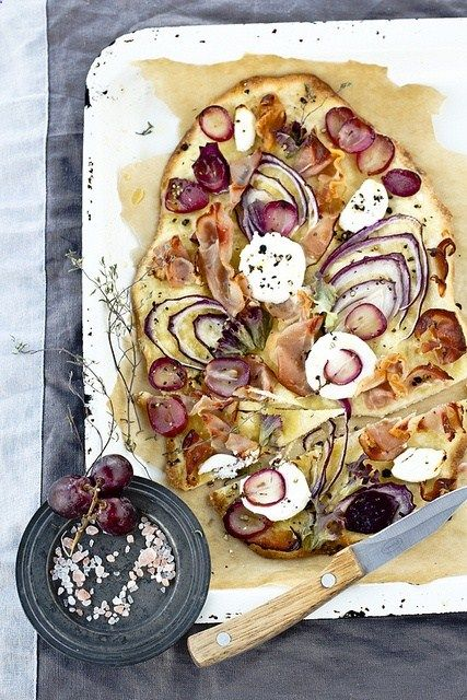 Love how colorful this pizza is: purples, yellows and greens. Shouts any fun…