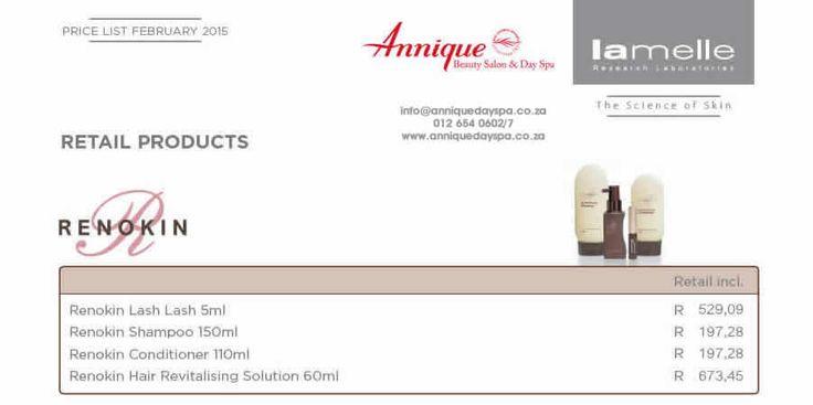 Lamelle Renokin Range Get your Lamelle products at Annique Day Spa  info@anniquedayspa.co.za 012 654 0602/7 www.anniquedayspa.co.za