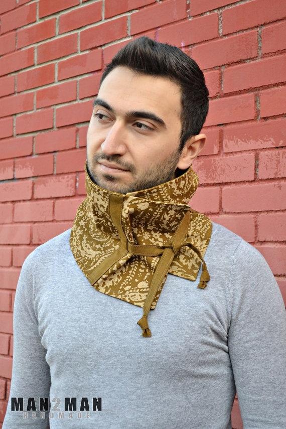 Mustard with Floral Pattern Stylish Unisex Scarf / Mens Neckwarmer - Handmade