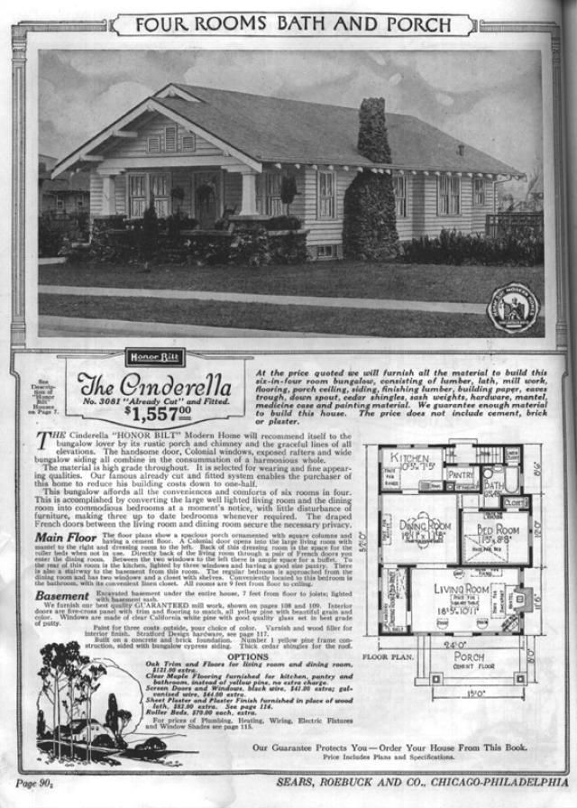 Sears Bungalows for Sale, 1921 Catalog House Plans: Sears Modern Home No. 3081, The Cinderella, circa 1921