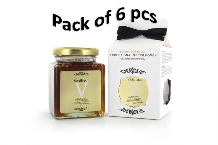 Greek Honey Vasilissa with 24K edible Gold and Thyme 250gr x 6pcs Pack