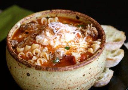 Crock Pot Lasagna Soup -- ground beef, onion, condensed tomato soup, petite diced tomatoes, tomato sauce, chicken bouillon cubes, beef bouillon cubes, water, oregano, basil, parsley, garlic powder, salt, pepper, ricotta cheese, lasagna noodles, mozzarella cheese