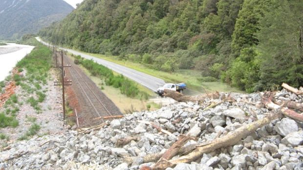 A photo from the top of the large slip blocking SH75 at Deception Point near Otira.