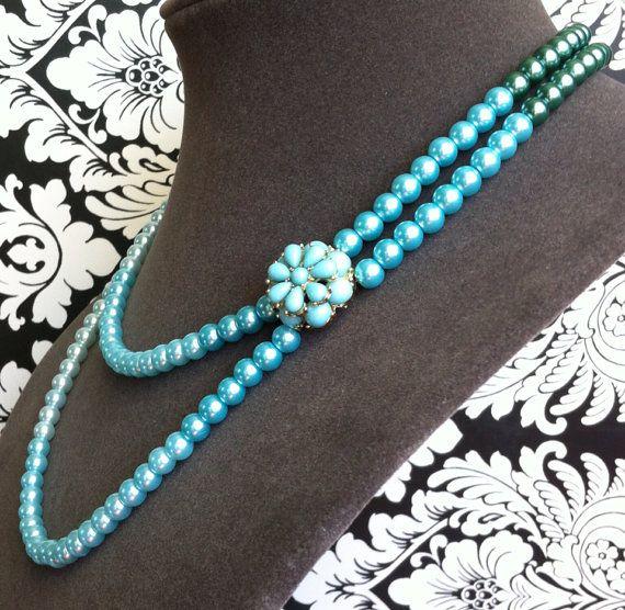 Blue Multi strand necklaceMulti strand от RussianCuties на Etsy