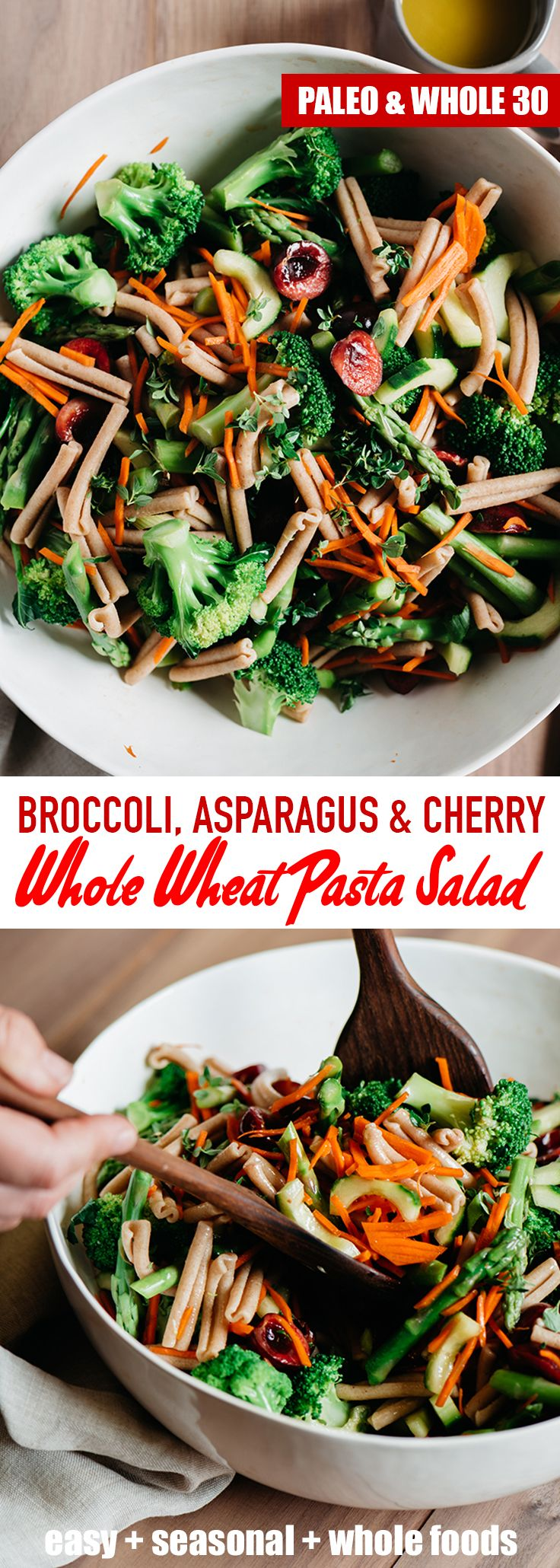 This asparagus pasta with broccoli and cherries salad is a lighter, healthier, seasonal version of the classic. It's fast and easy (30 minutes!) with whole wheat noodles that stand up well to a long marinade. You'll want to make this vegan pasta salad recipe all summer long! #pastasalad #vegan #vegetarian #30minutes #sidedish #broccoli #asparagus