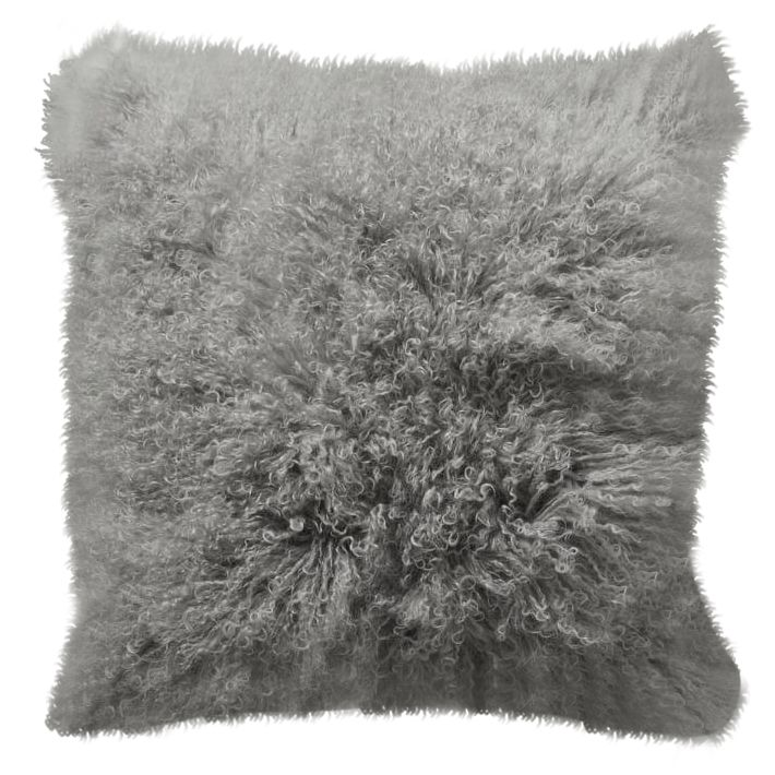 Mongolian Lamb Grey Pillow Cases - A Pair on Chairish.com
