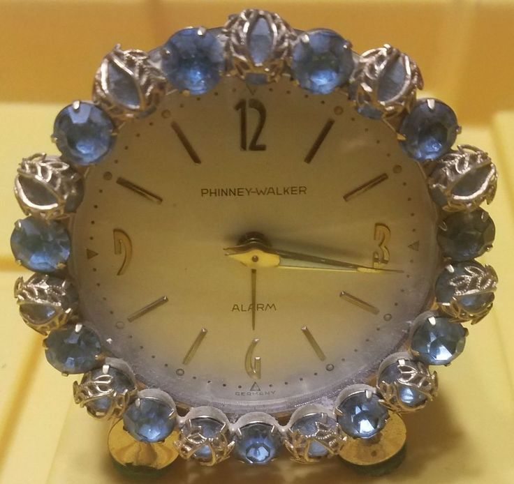 WORKING #Vintage #PhinneyWalker Blue #Rhinestone #Alarm #Clock Germany #MidCentury  http://www.ebay.com/itm/253024598381?utm_content=bufferccf16&utm_medium=social&utm_source=pinterest.com&utm_campaign=buffer