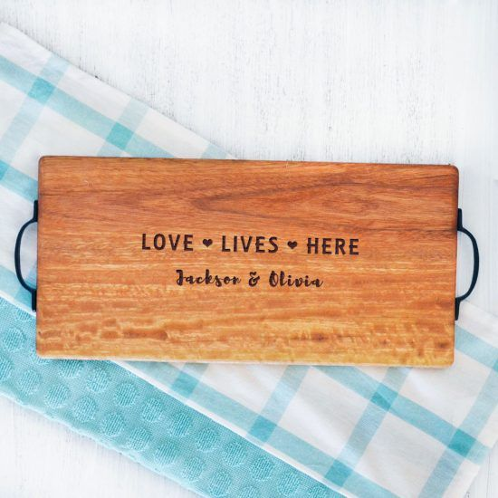 Personalised Love Lives Here Chopping Board