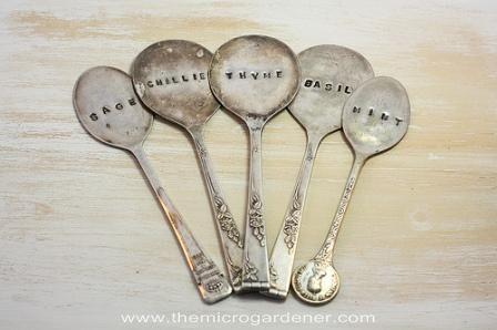 Metal spoons markers | The Micro Gardener More tips @ themicrogardener.com