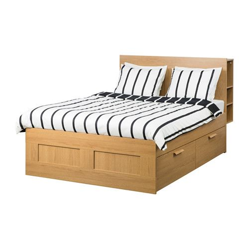 IKEA BRIMNES Bed frame w storage and headboard Oak effect/lönset Standard King 26 slats of layer-glued birch adjust to your body weight and increase the ...