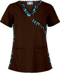 UA Edgy Bloom Coffee Bean Inset V-Neck Print Scrub Top