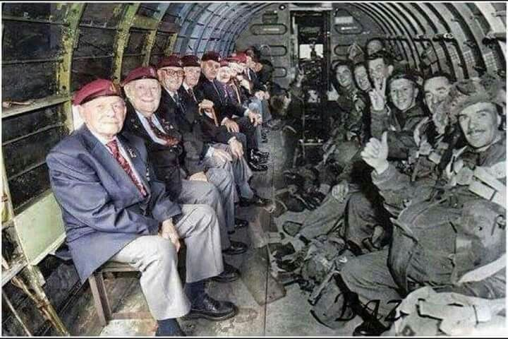 World War II paratroopers sitting across from themselves in the same plane that dropped them into Normandy on D-Day. Thank you for your brave service to our nation. God bless.