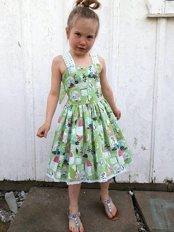 f3b475b39af Cactus Succulent Summer Dress for Babies size 6-12 months through Girls  size 8