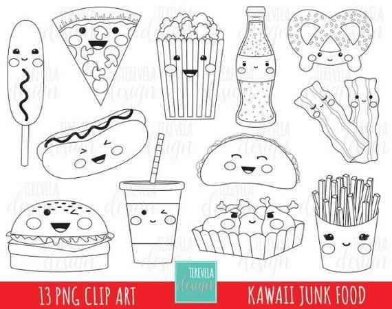 JUNK FOOD stamp, digi stamp, commercial use, kawaii digi ...