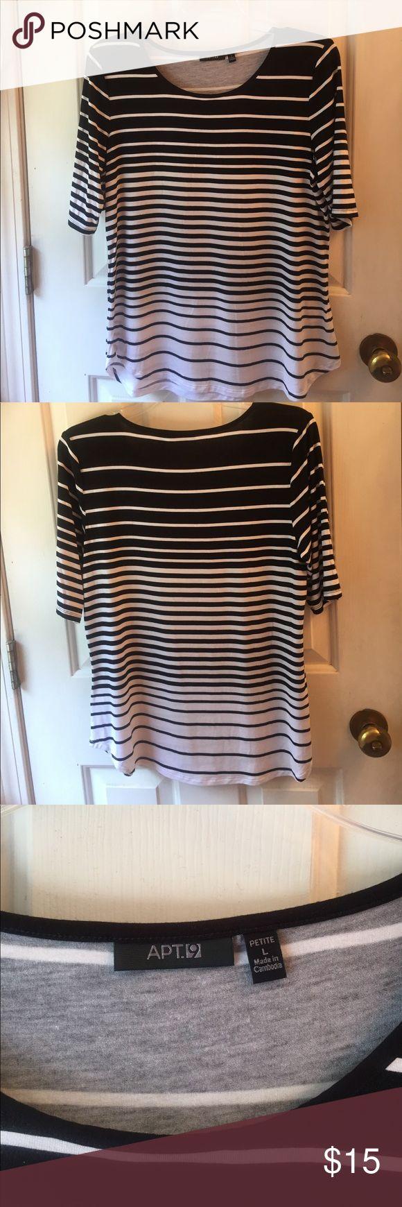 Apt. 9 size LP black/white stripe shirt Apt. 9 size LP shirt, fun black/white stripe detailing NWOT smoke free home Apt. 9 Tops Tees - Short Sleeve