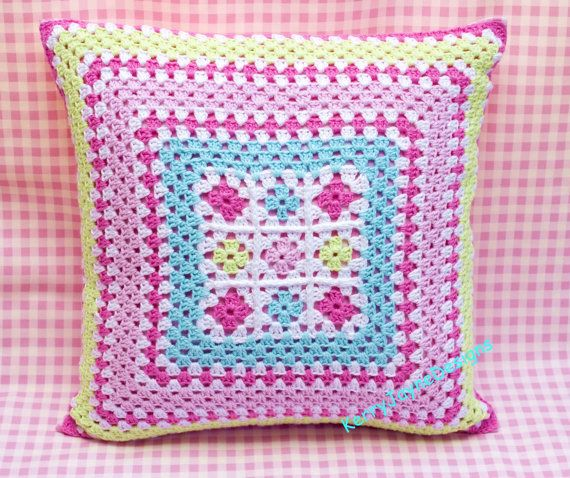 CROCHETED CUSHION, granny squares PILLOW, colourful pastels, KerryJayneDesigns, pink cushion, granny cushion a wonderful addition to a room....