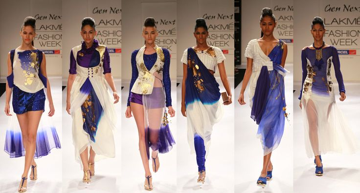 Aniket Satam, Gen Next, Lakme Fashion Week. #aniketsatam #whiteandblue #gold #gennext #lfw