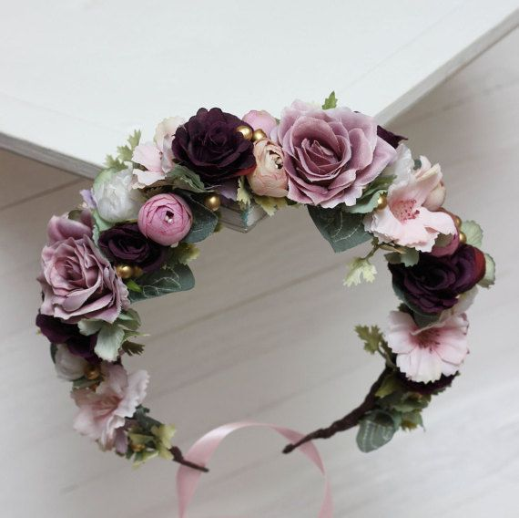 Ready to ship Purple pink flower crown Rose eucalyptus floral crown Wedding hair wreath Bridal floral crown Floral headband Bridesmaid crown