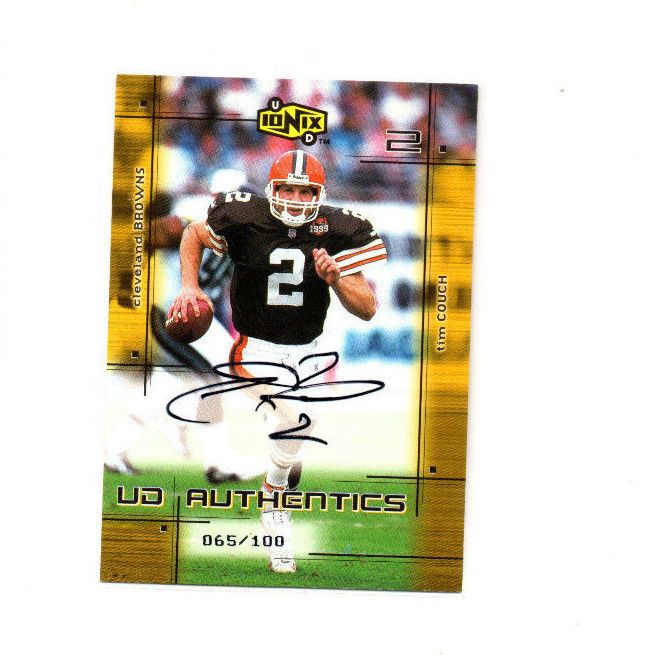 2000 UD Ionix UD Authentics Tim Couch Autograph Card #'d 065/100 Browns QB #2