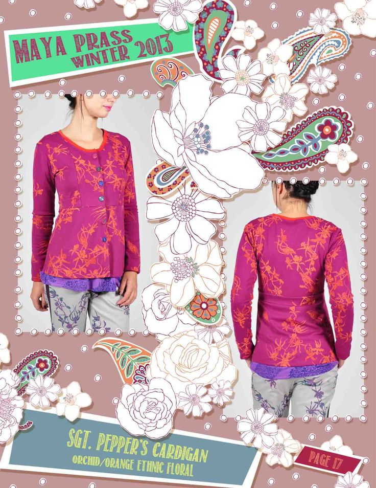 Sgt.-Pepper's cardigan orchid Ethnic Floral