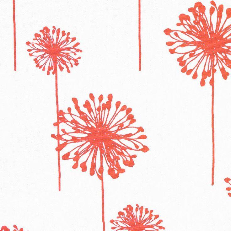 Premier Prints Dandelion White/Coral Fabric - Image 2