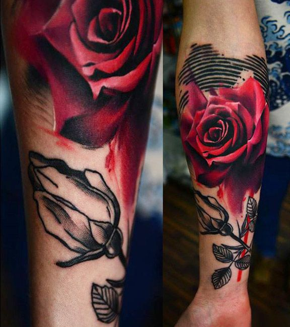 Realistic Flowers Tattoo by Timur Lysenko | Tattoo No. 12601