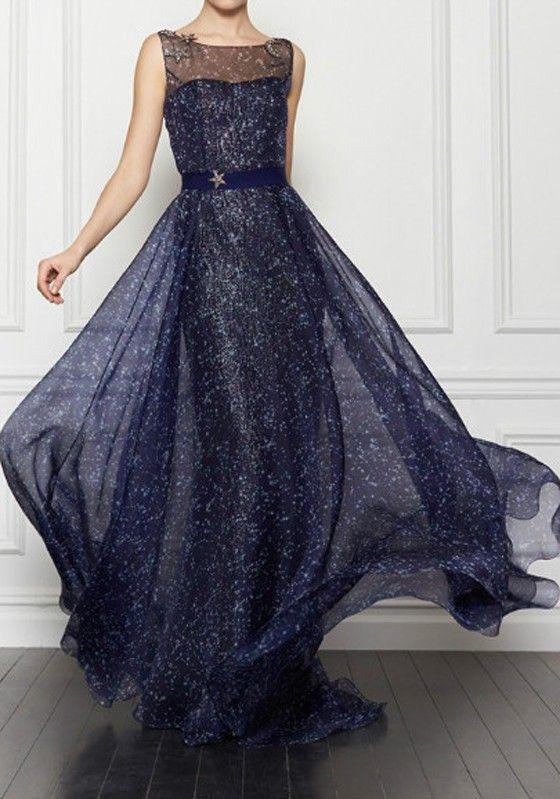 Dark Blue Galaxy Print Sleeveless Maxi Dress