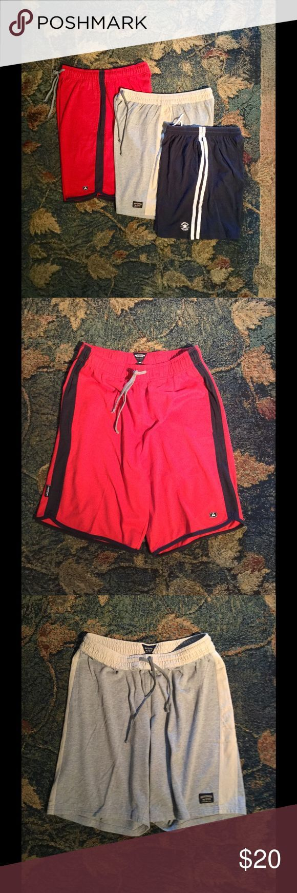 "❗Price Drop❗Bundled Men's Gym Shorts 2 Abercrombie Red and Beige and 1 Converse Navy - 7"" to 10"" inseams Abercrombie & Fitch Shorts Athletic"