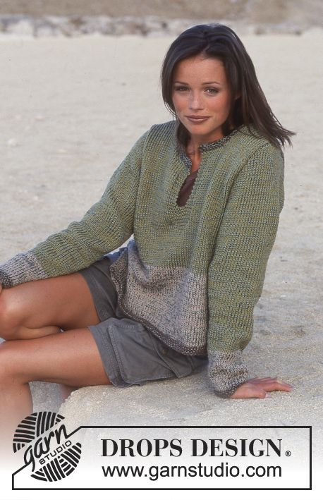 DROPS Sweater in Paris and Cotton Viscose. Free pattern by DROPS Design.