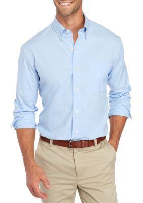 Saddlebred Men's Long Sleeve Stretch Oxford Shirt - Blue - 2Xl