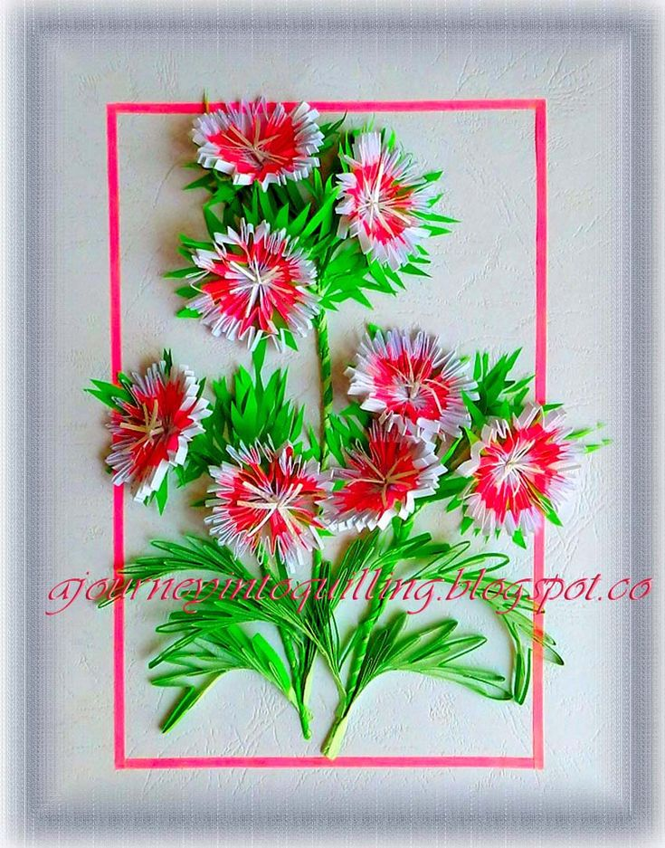 A quilled flower frame of Sweet Williams or Dianthus to celebrate spring. The camera has warped my straight frame!! This time I have use...
