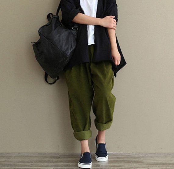 Women Green/ Black Cotton Pants Cotton Trousers casual loose Trousers Turnip pants