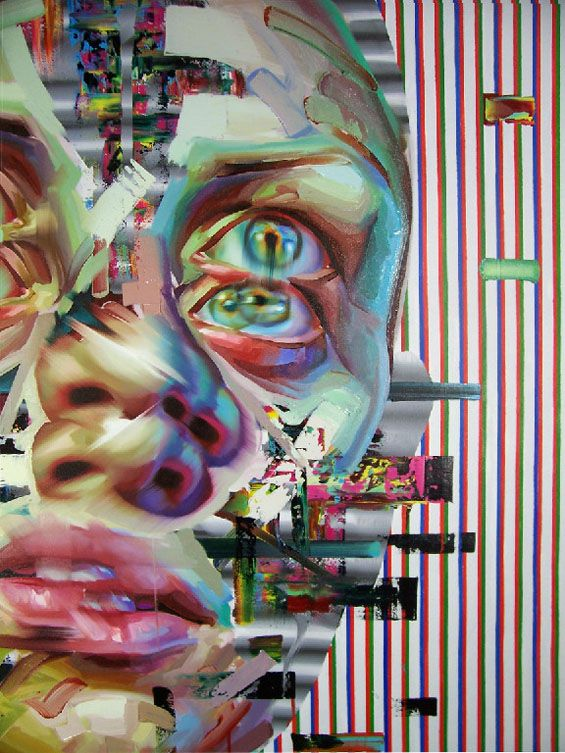 Technology altered images rendered in paint - Nope, These Glitchy Portraits Aren't Digital. They're Hand Painted.