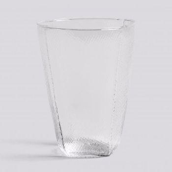 Tela Tumbler Glass: These glasses are crafted with a textured outer surface resembling a stitched textile, and is the pure definition of contemporary glassware.