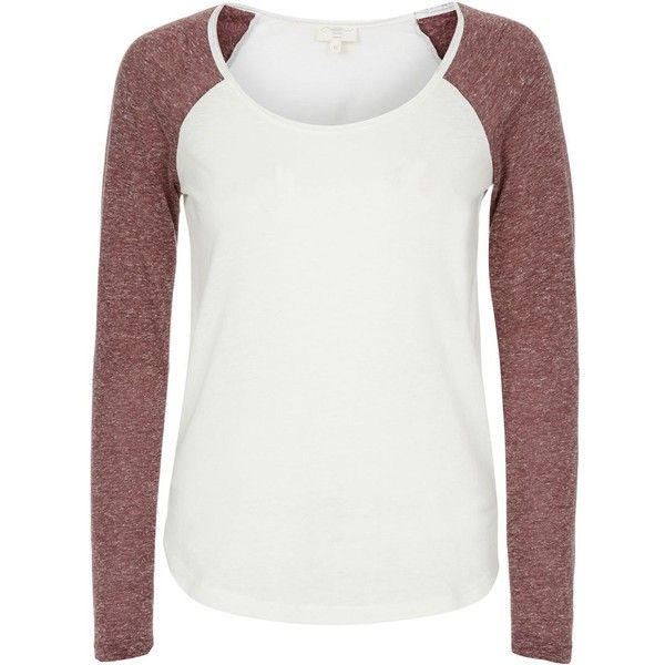 Cream Contrast Sleeve Raglan Top (15 BRL) ❤ liked on Polyvore featuring tops, t-shirts, burgundy, long sleeve scoop neck top, cream long sleeve top, long sleeve tops, sport top and sports tops