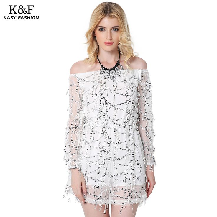 Find More Dresses Information about KASY 2017 Women Sexy Slash Neck Off Shoulder Mini Dress Summer Long Sleeve Sequined Mini Dress Mini vestido con lentejuelas,High Quality Dresses from Kasy Apparel on Aliexpress.com