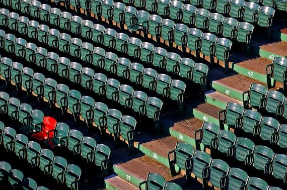 Fenway Park - The Red Seat-- It sits in a sea of green, a single red chairback in the outer limits of Fenway Park's right field bleachers. It is Seat 21 in Row 37 of Section 42. It is known simply as the red seat, and it marks the spot where Ted Williams hit the longest home run in Fenway's 84-year history.: Spaces, Favorite Places, Fenway Park S, Boston Redsoxs, Fenway S, Parks, Park Photograph, Boston Red Sox