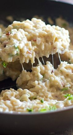Creamy Cauliflower Garlic Rice - this could be a side or entree if dressed up with mushrooms or veggies. Meat lovers, try with farm raised grilled chicken.