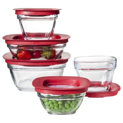 Rubbermaid 10-pc. Glass Food Storage Set (or similar - must be glass) GLASSSSS - to be able to put in the dishwasher!