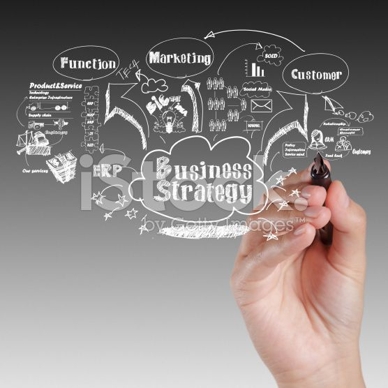 hand drawing idea board of business strategy process royalty-free stock photo