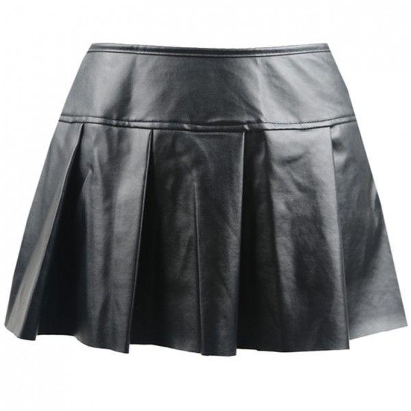 Falda corta plisada de polipiel