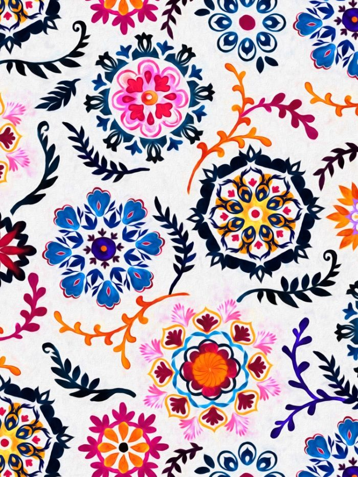 Happy Color Suzani Inspired Pattern Art Print